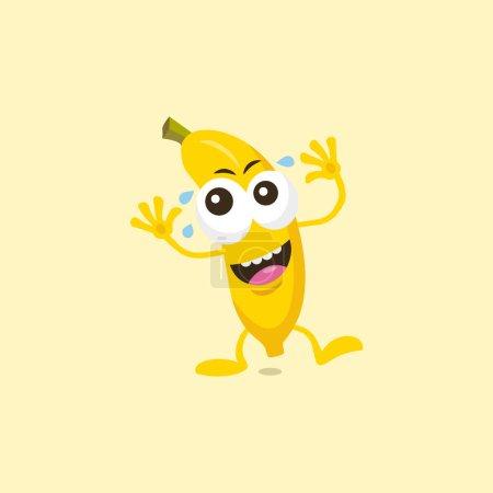 Photo pour Illustration de la mascotte riante mignonne de banane d'isolement sur le fond léger. - image libre de droit