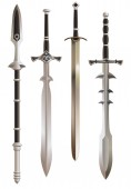 Medieval swords and short spear vector