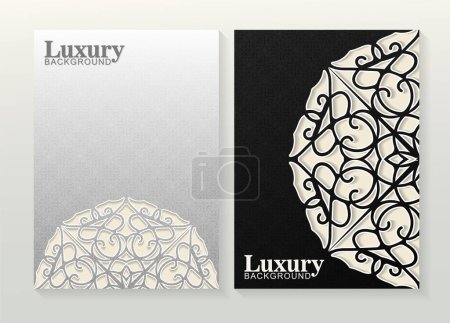 Illustration for Abstract white and black pattern texture for book cover template vector set - Royalty Free Image