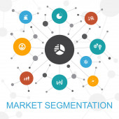market segmentation trendy web concept with icons Contains such icons as demography segment Benchmarking