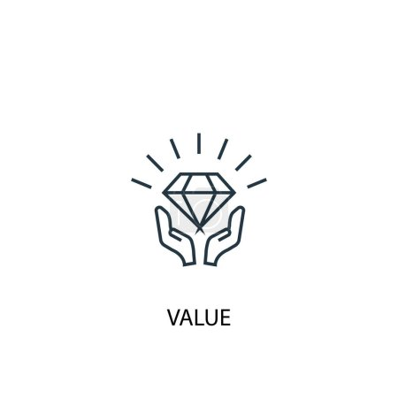 Illustration for Value concept line icon. Simple element illustration. value concept outline symbol design. Can be used for web and mobile UI - Royalty Free Image