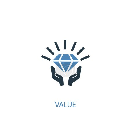Illustration for Value concept 2 colored icon. Simple blue element illustration. value concept symbol design. Can be used for web and mobile UI - Royalty Free Image