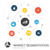 market segmentation colored circle concept with simple icons Contains such elements as demography segment Age group