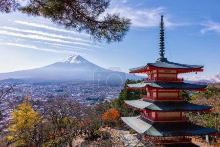 Famous Place of Japan, Mount Fuji and Chureito pagoda  view in autumn season.