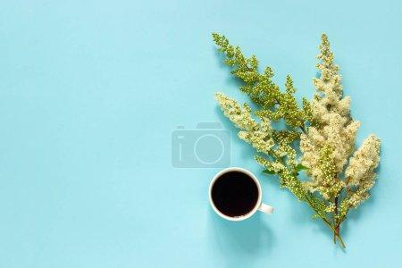 Photo pour Tasse de café et fleurs blanches rameaux fleuries sur fond papier bleu Pose plate Vue de dessus Concept Bonjour ou Bonjour printemps Espace de copie Modèle pour carte postale, texte ou votre design . - image libre de droit