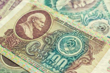 Photo pour Libéré du chiffre d'affaires de l'argent russe (l'ex-Union soviétique). fond vintage, texture - image libre de droit
