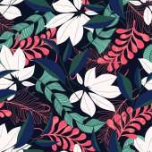 """Постер, картина, фотообои """"Абстрактный бесшовный узор с красочными тропическими листьями и растениями. Векторный дизайн. Отпечаток джунглей. Цветы фон. Печать и текстиль. Экзотические тропики. Свежий дизайн."""""""