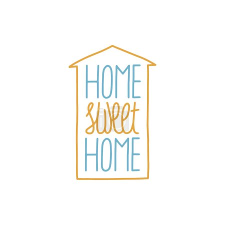 Illustration for HOME SWEET HOME card lettering, the shape of the house. Lettering for the quarantine period of the coronavirus pandemic. Work from home. Vector outline. - Royalty Free Image