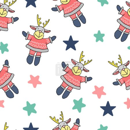Photo pour Vector seamless pattern drawing in the style of Christmas and new year will harmoniously decorate your cards and gifts - image libre de droit
