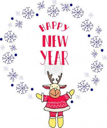 Photo pour Round vector drawing in the style of Christmas and new year will harmoniously decorate your cards and gifts - image libre de droit