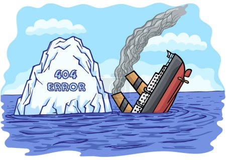 The passenger sea ship collided with an iceberg an...