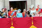 Queen Elizabeth, London, uk, June 2018- Meghan Markle, Prince Harry, Prince George William, Charles, Kate Middleton & Princess Charlotte Trooping the colour Royal Family at Buckingham Palace, June 10 2018 London, uk stock, photo, photograph, image, p