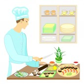 Color picture A man cook he prepares delicious dishes of Japanese national cuisine He cuts knives On the table on a beautiful dish seafood sushi rolls caviar Vector illustration