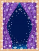 Original frame for photos and text View of the room from the window Openwork snowflakes on a blue background create a festive mood A wonderful gift for Christmas and New Year Vector illustration