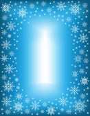 Original frame for photos and text Openwork snowflakes on a blue background create a festive mood A wonderful gift for Christmas and New Year Vector illustration