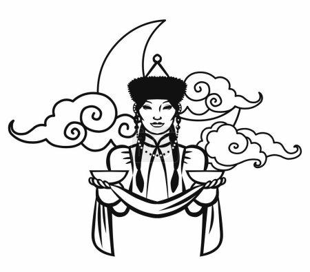 Illustration pour Jolie femme en costume buryatien traditionnel. Membre du peuple sibérien. Illustration vectorielle dessinée à la main isolée sur fond blanc - image libre de droit
