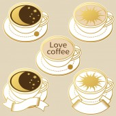 Coffee cups with moon and sun Vector illustration