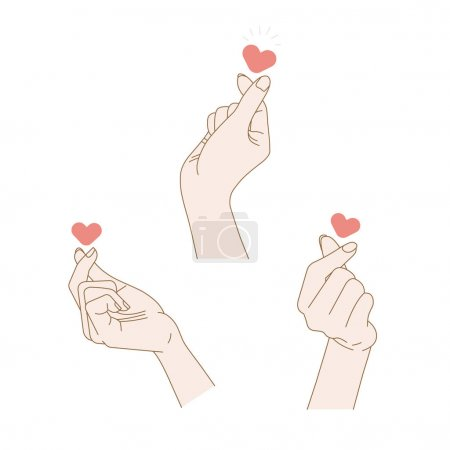 Illustration for Sign of love. 3 vector hand drawn illustrations - Royalty Free Image