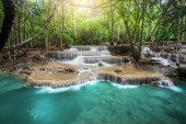Huay Mae Kamin Waterfall, beautiful waterfall in rainforest at K
