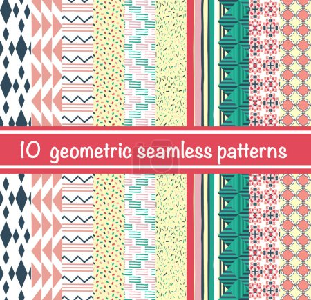 Illustration for Vector set of hand drawn style abstract geometric seamless patterns. Can be used for wallpaper,  wrapping, backdrop decoration for your design. - Royalty Free Image