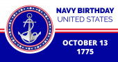 Navy birthday celebrated in 13th October 13th in United States Emblem with anchor flag ropes