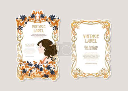 Portret kobiety z długimi włosami w kwiatowy ramki w stary, retro, w stylu art nouveau. Ilustracja wektorowa kolorowe. W vintage kolory beżowy i pomarańczowy. Dobre na etykiecie produktu.