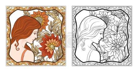 Illustration pour Ortrait d'une femme aux cheveux longs dans un cadre floral dans un style ancien, rétro, art nouveau. Design coloré et contour. Illustration vectorielle. Coloriage pour le livre de coloriage adulte avec échantillon coloré - image libre de droit