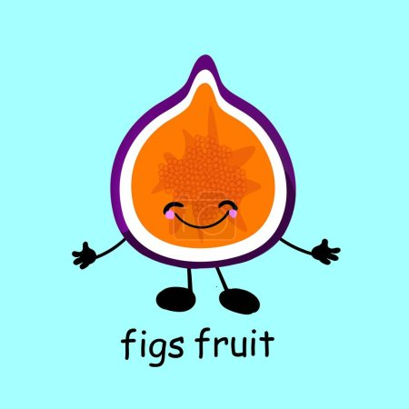 Illustration for Fig Fruit character. Card for children. Learn words. The characters are funny and cute. Fruit with eyes and smiles. Healthy food - Royalty Free Image