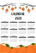 one page calendar or planner set 2020 with persimmon fruit for children korean style Can be used to print graphics