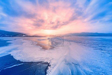 Frozen surface of Baikal lake