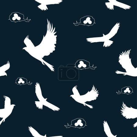Seamless pattern: silhouette of a hawk in white and bird's nests on a blue background. vector. illustration