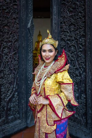 Photo for Burmese beautiful woman in antique Myanmar or Burma traditional national dress costume clothes - Royalty Free Image