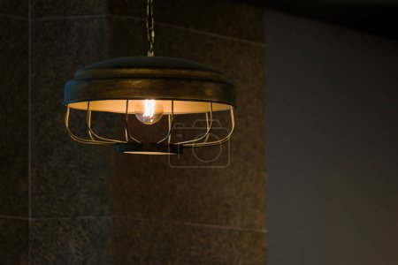Photo for Vintage brass metal ceiling lamp interior lighting bulbs decoration contemporary - Royalty Free Image