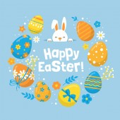Easter holiday banner design with cute bunny and eggs decoration