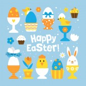 Easter holiday concept with set of cute egg holders for graphic