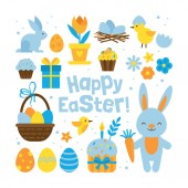 Easter holiday concept with set elements for graphic and web des