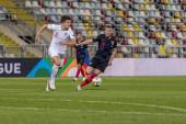 RIJEKA, CROATIA - OCTOBER 12, 2018: UEFA Nations League football match Croatia vs. England. In action Harry Maguire (6) and Ante Rebic (18)