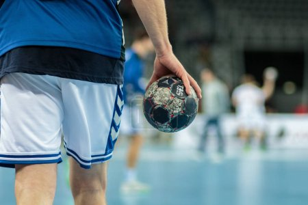 Photo for ZAGREB, CROATIA - FEBRUARY 25, 2016: EHF Champions League PPD Zagreb VS IFK Kristianstad. Ball in the hand. - Royalty Free Image