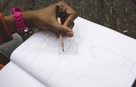 Photo for Drawing with pencil on paper. - Royalty Free Image