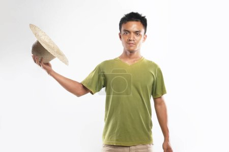 Photo for Asian man happy young standing. yogyakarta indonesia. Sep.29, 2020 - Royalty Free Image