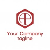 AP PA initial hexagonal company logo