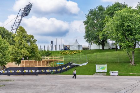 Photo for Munich, Germany - June 09, 2018: View to olympic village and park in Munich - Royalty Free Image