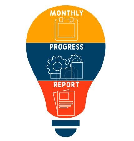 MPR - monatlicher Fortschrittsbericht. Abkürzung für Business-Konzept. Vektor-Illustrationskonzept mit Schlüsselwörtern und Symbolen. Schriftzeichnung mit Icons für Webbanner, Flyer, Landing Page, Präsentation