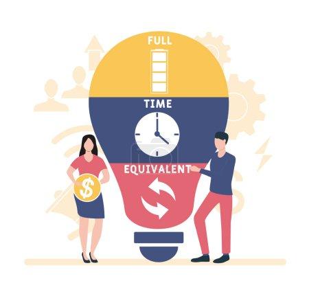 Illustration pour ETP - Équivalent temps plein acronyme, contexte du concept d'entreprise. lettrage mot typographie illustration de conception avec des icônes de ligne et des ornements. Mise en page vectorielle du concept de promotion du site Internet. - image libre de droit