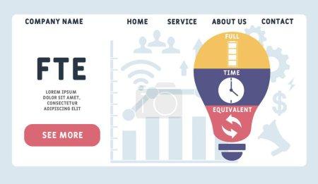 Illustration pour Modèle de conception de site Web vectoriel. ETP - Équivalent temps plein, concept d'entreprise. illustration pour bannière de site Web, matériel de marketing, présentation d'affaires, publicité en ligne. - image libre de droit