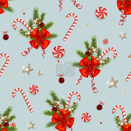 Candy cane and ribbon decor