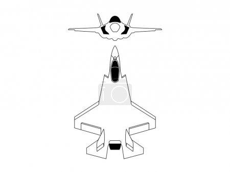 Illustration pour Moderne jet de chasse vecteur de plan sur fond blanc . - image libre de droit