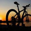 Silhouette of bicycle on the beach against colorfu...