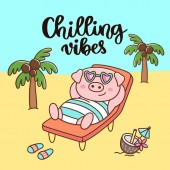 Handwritten phrase: Chilling vibes Pig in swimsuit and glasses with coconut cocktail resting on the beach It can be used for card brochures poster flyer t-shirt promotional materials