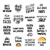 Set of 16 Tacos inscriptions Tacos - traditional Mexican dish It can be used for poster menu cards brochures and other marketing materials